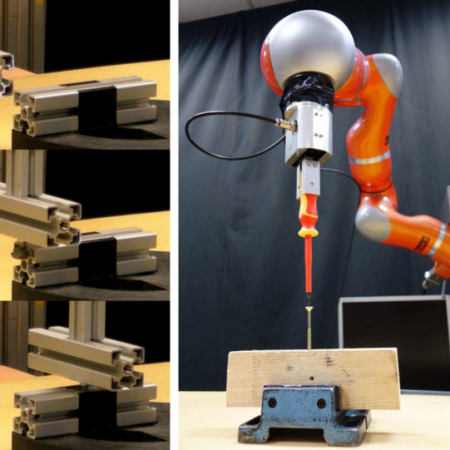 Robotic assembly solution by human-in-the-loop teaching method based on real-time stiffness modulation