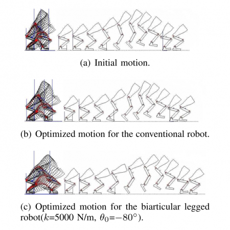 Optimal jumps for biarticular legged robots