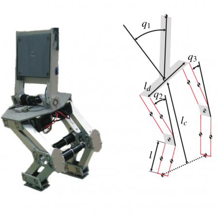 Multilayer control of skiing robot
